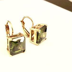 Gemstone square cut gold plated hook earrings